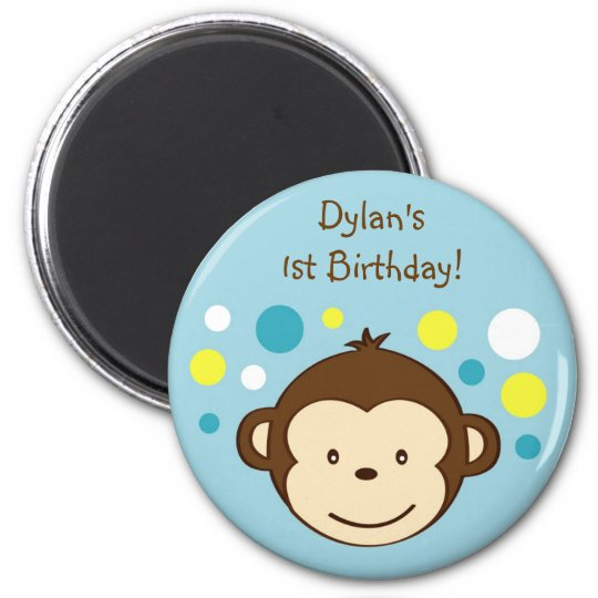 Mod Monkey Polka Dots Birthday Favor Magnets