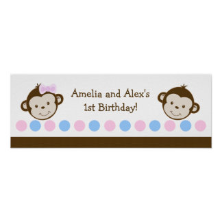 Mod Monkey TWINS Customizable Birthday Banner Poster