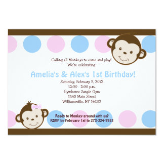 Mod Monkey Twins Pink/Blue 5x7 Birthday Card