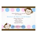 Mod Monkey Twins Pink/Blue 5x7 Birthday Personalized Invites