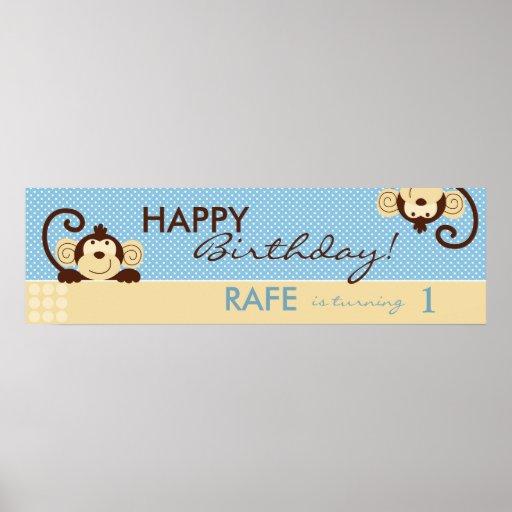 Mod Monkeys Birthday Banner Poster