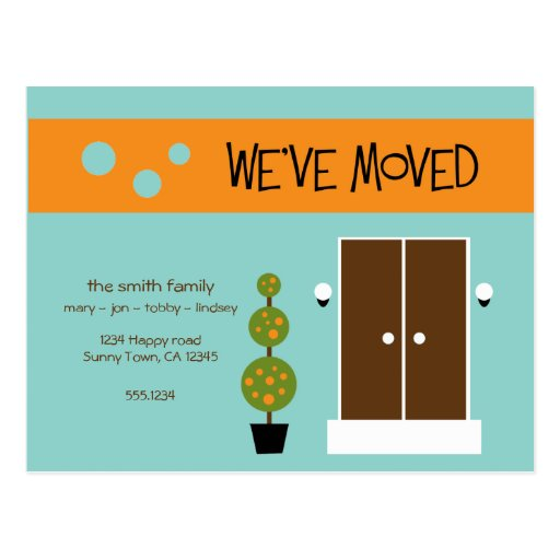 Mod Moving Announcment Postcard