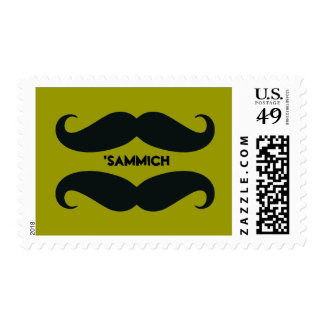 Mod Mustache Sandwich Custom Postage Stamps