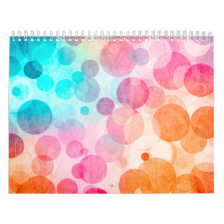 Mod Ombre Dots Pink Aqua Whimsical Rainbow Girly Calendar