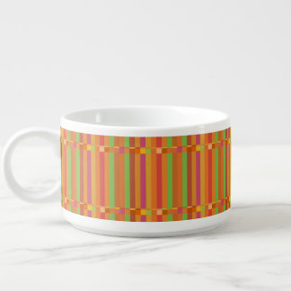 Mod Orange and Green Stripes and Squares Chili Bowl