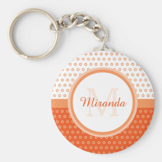 Mod Orange and White Polka Dots Monogram With Name Keychain