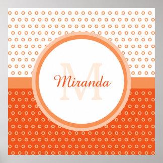 Mod Orange and White Polka Dots Monogram With Name Poster