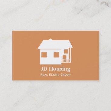 Mod Orange Brown Classy Real Estate Businesscards Business Card