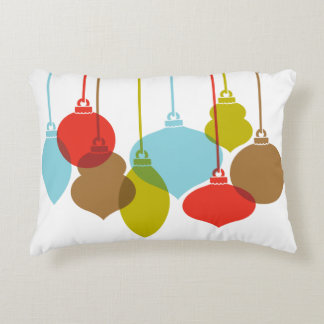 Mod Ornaments Retro Christmas Accent Pillow