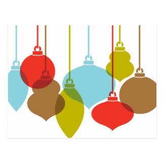Mod Ornaments Retro Christmas Postcard