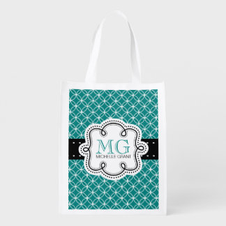 Mod Overlapping Circles Pattern Cute Girly Grocery Bags