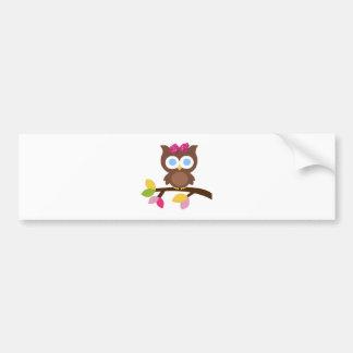 Mod Owl Design Birthday Party Invitation Favors Car Bumper Sticker