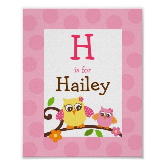 Mod Owl Flower Girls Nursery Wall Art Name Print