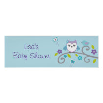Mod Owl Forest Personalized Banner Sign Poster