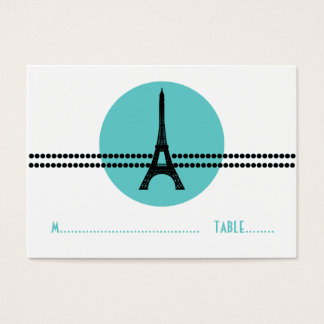 Mod Parisian Dots Place Card, Aqua Business Card