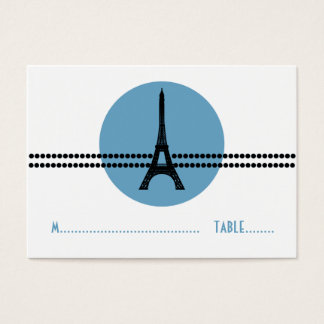 Mod Parisian Dots Place Card, Blue Business Card