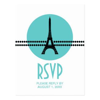 Mod Parisian Dots RSVP Card, Aqua Postcard