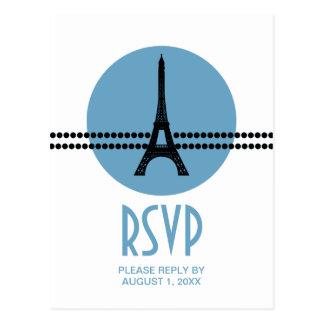 Mod Parisian Dots RSVP Card, Blue Postcard