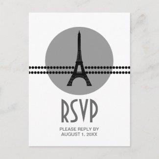 Mod Parisian Dots RSVP Card, Gray postcard