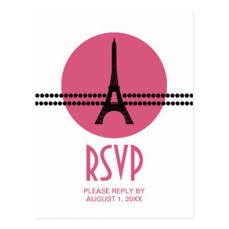 Mod Parisian Dots RSVP Card, Pink Postcard