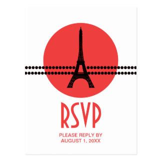 Mod Parisian Dots RSVP Card, Red Postcard
