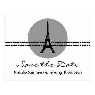 Mod Parisian Dots Save the Date Postcard, Gray