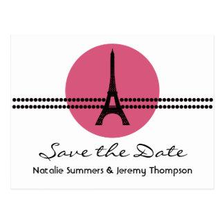 Mod Parisian Dots Save the Date Postcard, Pink
