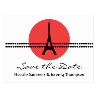 Mod Parisian Dots Save the Date Postcard, Red Postcard