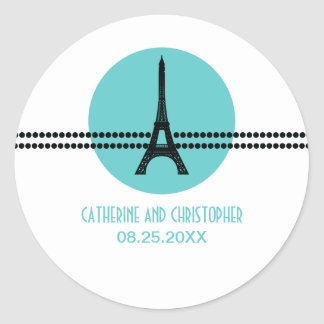 Mod Parisian Dots Stickers, Aqua Classic Round Sticker