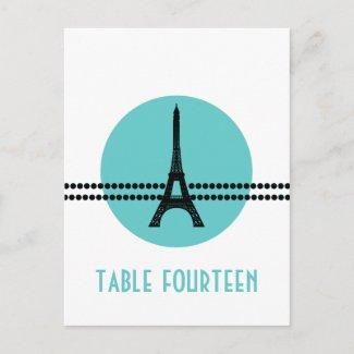 Mod Parisian Dots Table Postcard, Aqua postcard