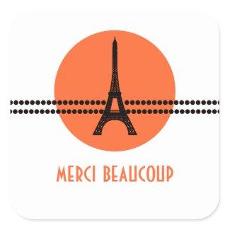 Mod Parisian Dots Thank You Stickers, Orange sticker