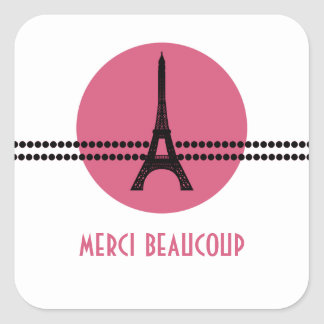 Mod Parisian Dots Thank You Stickers, Pink
