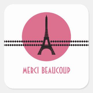 Mod Parisian Dots Thank You Stickers, Pink Square Sticker