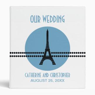 Mod Parisian Dots Wedding Binder, Blue 3 Ring Binder