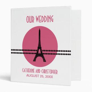 Mod Parisian Dots Wedding Binder, Pink 3 Ring Binder