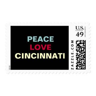Mod Peace Love Cincinnati Postage Stamps
