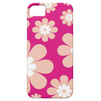 Mod Peach Flowers On Pink iPhone SE/5/5s Case