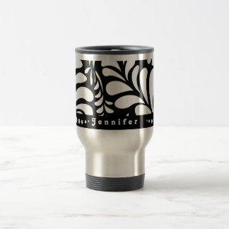 Mod personalized black swirls travel coffee mug