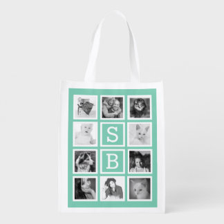 Mod Photo Grid with Initials for instagrammers Grocery Bags