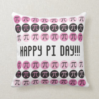 Mod Pi  - Pink and Pi Symbols - Happy Pi Day Gift Throw Pillow