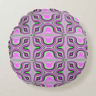Mod Pink Abstract Round Pillow