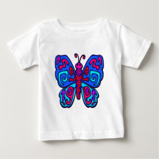 Mod Pink and Blue Butterfly Baby T-Shirt