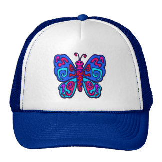 Mod Pink and Blue Butterfly Trucker Hat