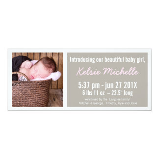 Mod Pink and Brown New Baby Girl 4x9.25 Paper Invitation Card