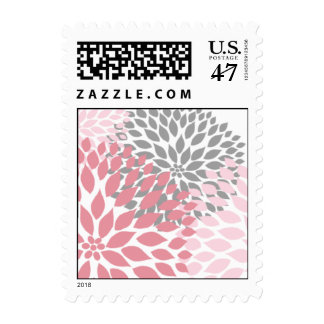 MOD Pink and Gray Dahlia Bridal or Baby Shower Postage