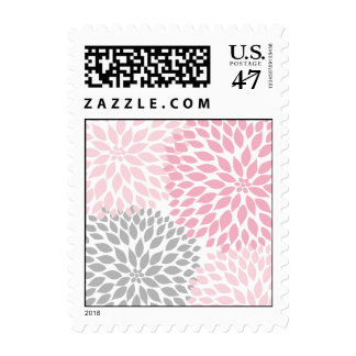MOD Pink and Gray Dahlia Bridal or Baby Shower Stamp