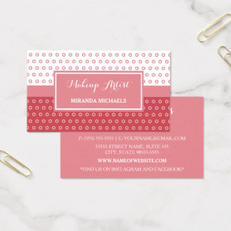 Mod Pink and White Polka Dots Makeup Artist Business Card