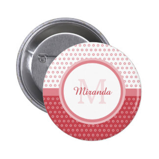 Mod Pink and White Polka Dots Monogram With Name Button