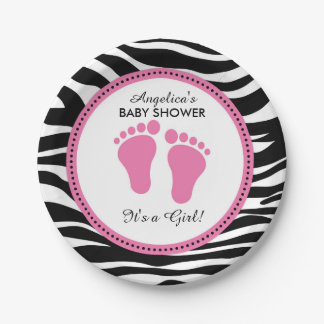 Mod Pink and Zebra Paper Party Plates, Baby Shower 7 Inch Paper Plate