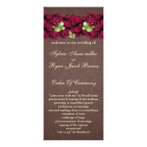mod pink brown Wedding program